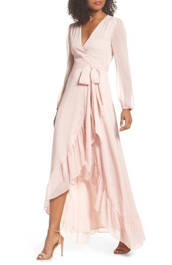 Women's Wayf Meryl Long Sleeve Wrap Maxi Dress, Size X-Small - Pink