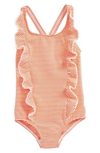 Girl's Mini Boden Stripe Ruffle One-Piece Swimsuit, Size 4-5Y - Orange