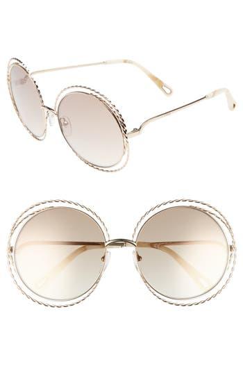 Chloe Carlina Torsade 5m Round Sunglasses - Gold/ Flash Brown