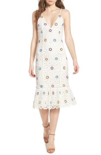 Lovers + Friends Iris Embroidered Midi Dress, White