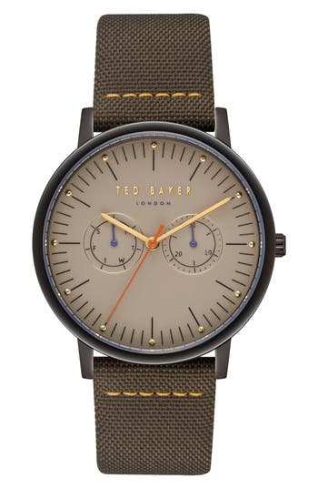 Ted Baker London Brit Leather Strap Watch, 40Mm