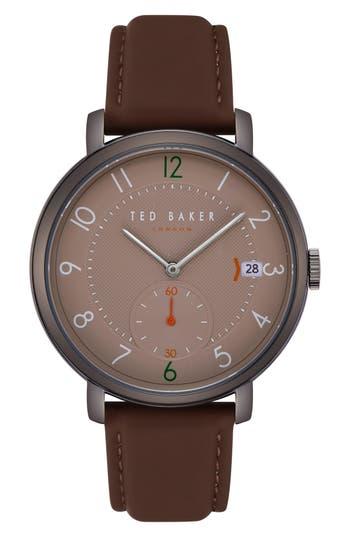 Ted Baker London Oscar Leather Strap Watch, 43mm