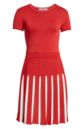 Women's Valentino Bicolor Pleated Minidress, Size Small - Red