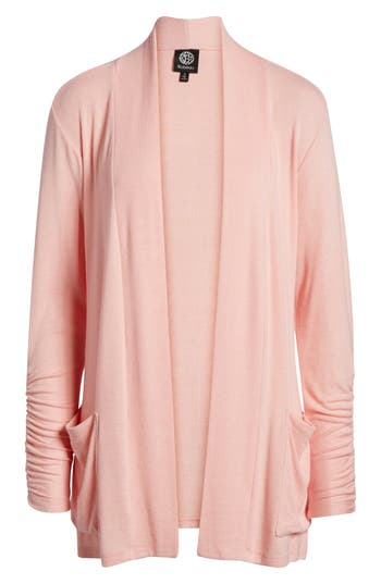 Women's Bobeau Ruched Sleeve Cardigan, Size Small - Pink