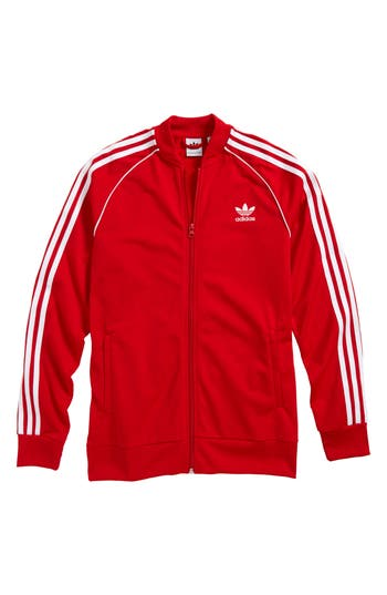 Boys Adidas Originals J Track Jacket Size L  1416  Red