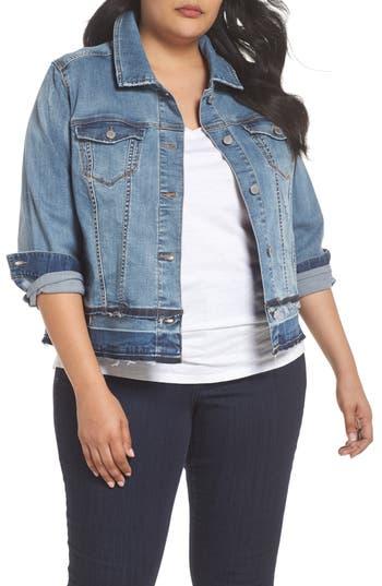 Plus Size Women's Liverpool Jeans Company Double Release Raw Hem Denim Jacket