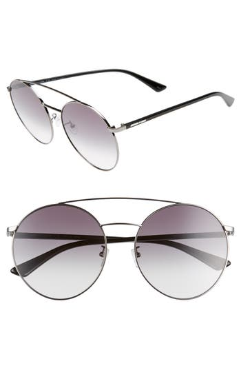61MM ROUND AVIATOR SUNGLASSES - BLACK