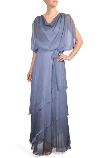 Komarov Ombre Tiered Skirt Blouson Gown