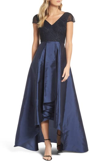 Adrianna Papell Beaded High/low Gown, Blue