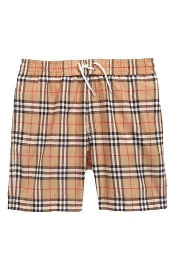 Boys Burberry Galvin Check Swim Trunks Size 6Y  Beige