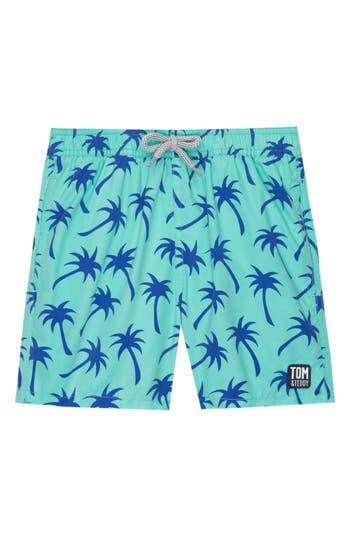 Boys Tom  Teddy Palm Print Swim Trunks