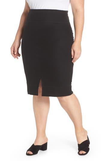 Plus Size Caslon Off-Duty Front Slit Pull-On Skirt, Black
