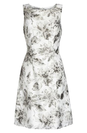 Adrianna Papell Burnout A-Line Dress, White