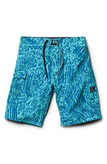 Boys Volcom Logo Plasm Mod Board Shorts Size 22  Bluegreen