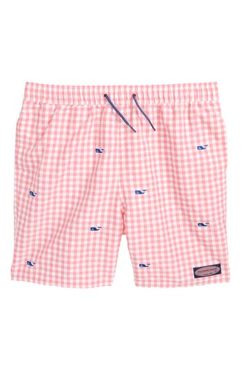 Boys Vineyard Vines Embroidered Micro Gingham Check Swim Trunks Size 5  Pink