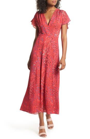 women's french connection frances drape maxi dress, size 12 - pink