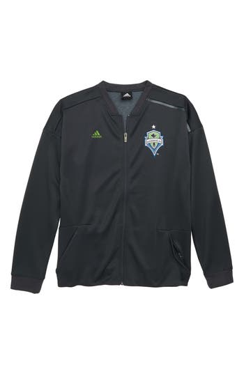 Boys Adidas Mls Seattle Sounders Fc Anthem Full Zip Jacket Size S  8  Grey