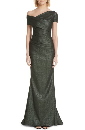 Talbot Runhof Glitter Knit Asymmetrical Mermaid Gown
