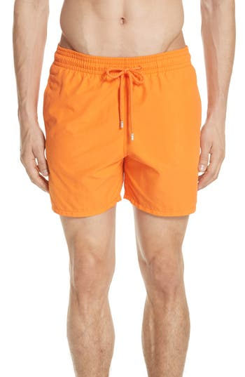Vilebrequin Fire Dance Water Reactive Swim Trunks, Orange