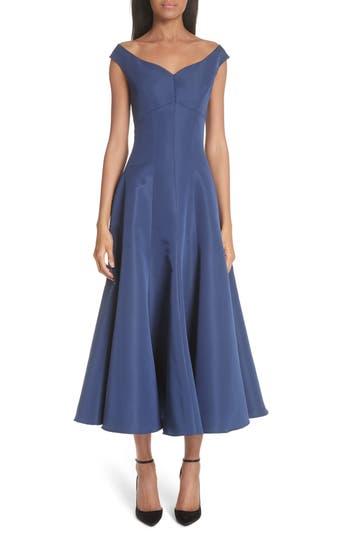 Christian Siriano Off the Shoulder V-Neck A-Line Silk Cocktail Dress