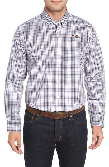 Men's Cutter & Buck Baltimore Ravens - Gilman Regular Fit Plaid Sport Shirt