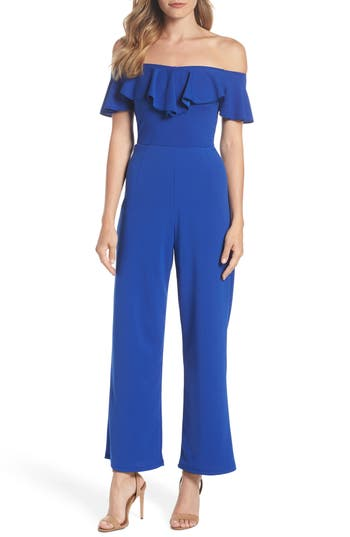 women's dorothy perkins off the shoulder jumpsuit, size 16 us / 20 uk - blue