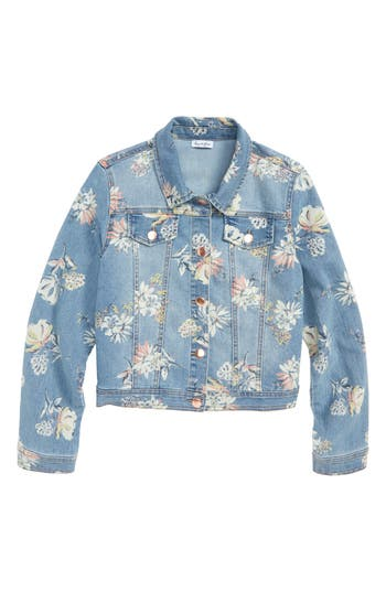 Girls Life Fire Floral Print Denim Jacket