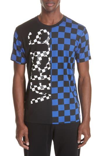 Men's Versus Versace Check Print T-Shirt, Size Small - Blue