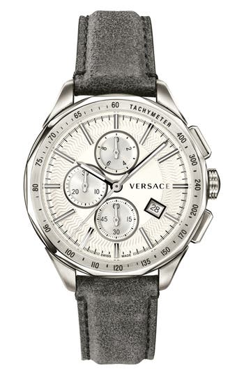 Versace Glaze Chronograph Leather Strap Watch, 44mm