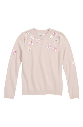Girls Milly Minis Floral Embellished Sweater