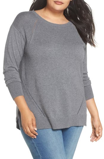 Caslon® Button Back Tunic Sweater