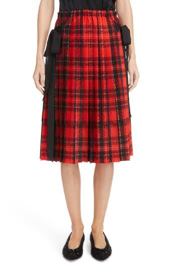 Simone Rocha Bow Pleated Tartan Skirt
