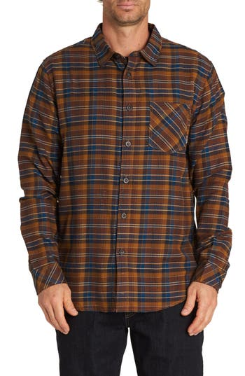 Men's Billabong Freemont Flannel Shirt, Size Small - Grey