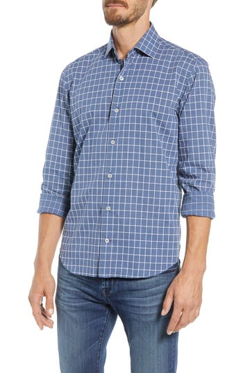 CULTURATA LIGHTWEIGHT TAILORED FIT WINDOWPANE PLAID SPORT SHIRT