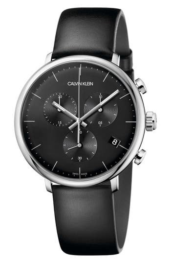 Calvin Klein High Noon Chronograph Leather Strap Watch, 43mm