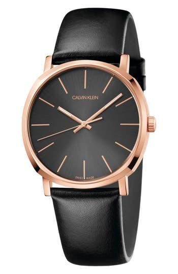 Calvin Klein Posh Leather Band Watch, 40mm