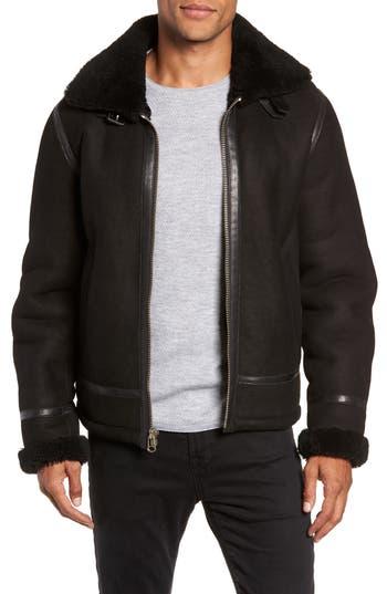 rag & bone Leather and Genuine Shearling Flight Jacket