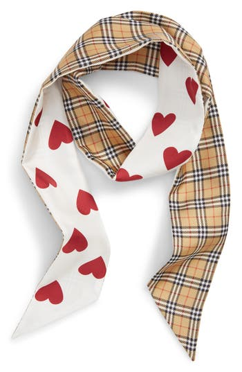 Burberry Heart & Check Silk Skinny Scarf