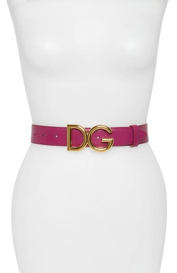 DOLCE & GABBANA FAMILY LUX METAL LOGO BUCKLE LEATHER BELT