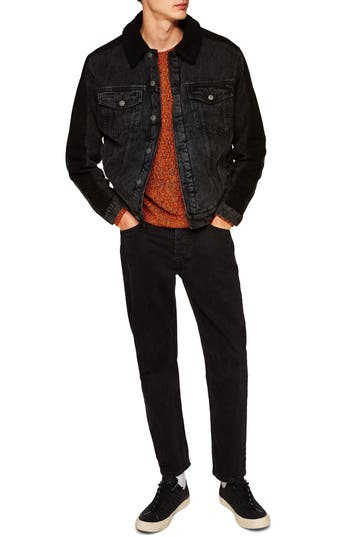 Topman Borg Lined Denim Jacket