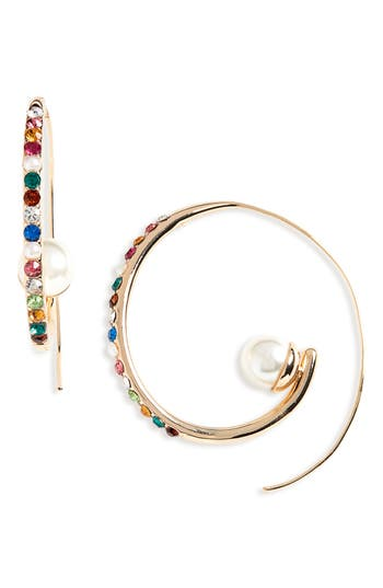 BaubleBar Delisa Imitation Pearl Hoop Earrings