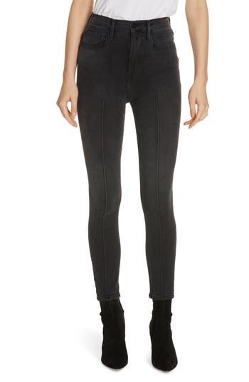 FRAME Ali Pintucked High Waist Skinny Crop Cigarette Jeans