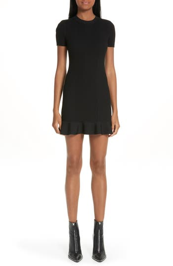 Alexander Wang Ruffle Hem Ribbed Dress