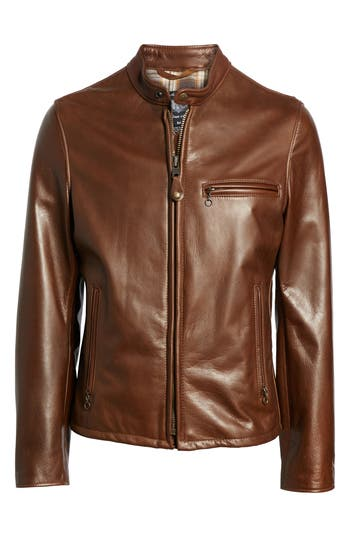 Schott NYC Café Racer Oil Tanned Cowhide Leather Moto Jacket