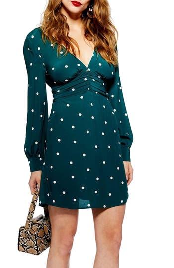 Topshop Spot Ruched Dress