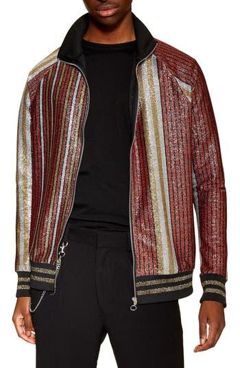 Topman Classic Fit Metallic Stripe Track Jacket