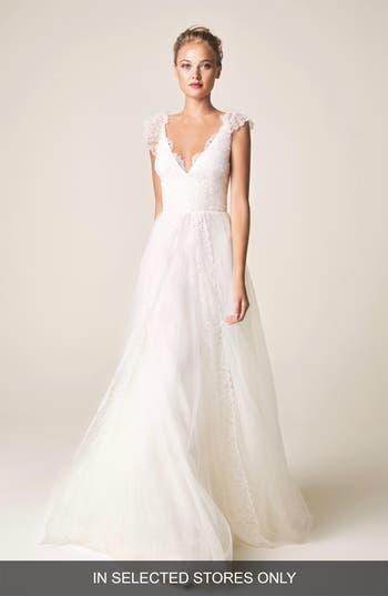 Jesús Peiró V-Neck Cap Sleeve Wedding Dress