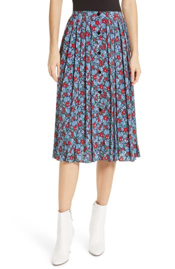 Robert Rodriguez Juliette Floral Print Pleated Skirt