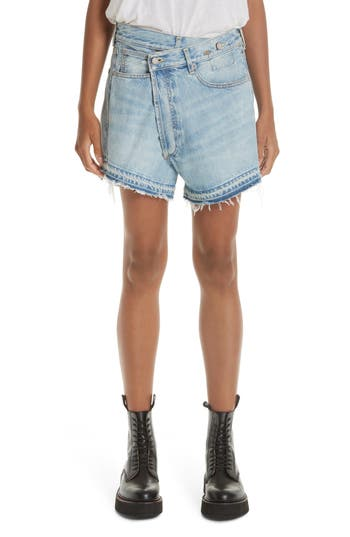 R13 Crossover Denim Shorts