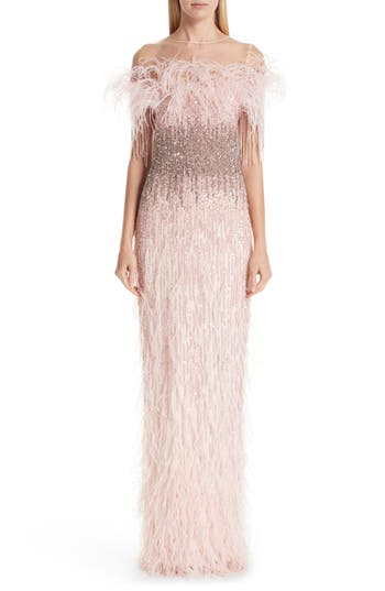 Pamella Roland Feather Trim Embellished Column Gown